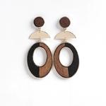 boucles d'oreille bois donuts