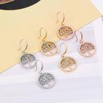 Boucles oreilles pendantes arbre dorées et bleues