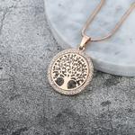 collier pendentif arbre de vie couleur or rose