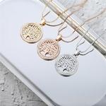 collier pendentif arbre de vie couleur or or rose et argent