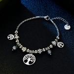 bracelet argenté arbre de vie et breloques