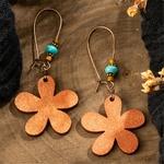 boucles doreilles pendantes bois ethniques fleur