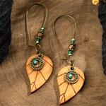 boucles doreilles pendantes bois ethniques feuille