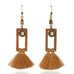 boucles d'oreilles pendantes en bois avec frange marron