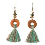 boucles d'oreilles en bois pendantes avec pompon bleu