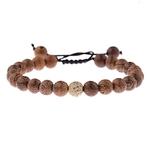 bracelet perles bois strass