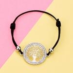 bracelet arbre de vie avec cordon noir plaqué or
