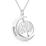 collier arbre de vie lune personnalise prenom 2