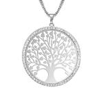 collier arbre de vie entouré de strass plaqué argent
