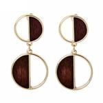 Boucles d'oreilles bois - Duo-bois-double-cercle-combinaison-boucles-d-oreilles