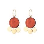 Boucles d'oreilles pendantes en bois et plaqué or