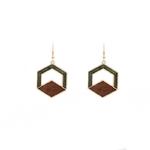 Boucles d'oreilles pendantes vertes et marron en bois