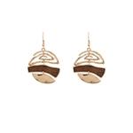boucles d'oreilles pendantes bois et métal rond