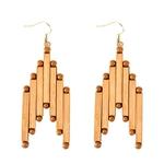 grandes boucles d'oreilles en bois bambou forme originale