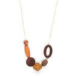 grand collier avec plusieurs perles de bois marron