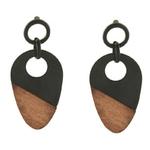 boucles d'oreilles pendantes bois et noires