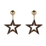 boucles doreilles pendantes bois étoile
