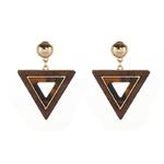 boucles doreilles pendantes bois triangle