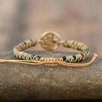 Bracelet arbre de vie pierre de jaspe boudha zen yogi africain cordon tressé