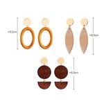 boucles doreilles pendantes en bois et puce métal