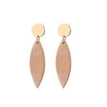boucles d'oreilles pendantes en bois et puce métal
