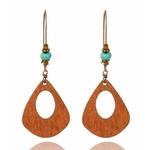 boucles d'oreilles en bois pendantes bohème