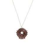 collier pendentif rond bois soleil fleur