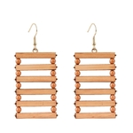 boucles doreilles bois pendantes rectangle
