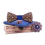 neud papillon bois fleur bleu croix