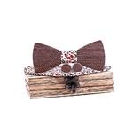 noeud papillon en bois rayures motif floral