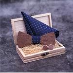 noeud papillon en bois gravé rayures boutons manchettes bois