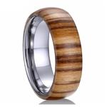 bague en bois courbe acajou et tungstene 8mm
