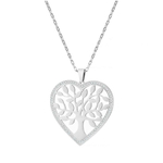sautoir arbre de vie coeur collier zirconium acier