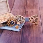 noeud papillon bois mariage avec boutons de manchette en bois