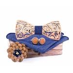 noeud papillon bois clair tissu bleu jean