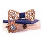 coffret noeud papillon bois bleu nuit