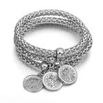 Luxe-femmes-ensemble-de-bijoux-Long-collier-3-pi-ces-pop-corn-cha-ne-Bracelet-arbre