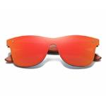 lunette en bois wayfarer miroir orange face