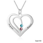 collier coeur deux prenoms et pierres de naissance cristaux zirconium
