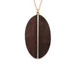 Pendentif ovale en bois noir