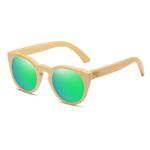 lunettes en bois oeil de chat vert