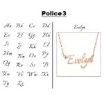 Collier prénom police 3 rose