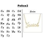 Collier prénom police 2 or