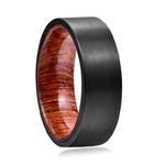 bague bois et tungstène  alliance personnalisable noire mat