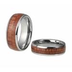 bague en bois et tungstène modele double anneaux bois grave