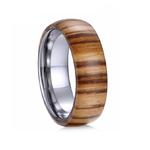 bague en bois homme exterieur acajou intérieur tungstene 8 mm