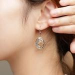 boucles doreilles pendantes avec motif feuillage nature en argent véritable