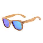 lunettes en bois intemporel zebra bleu