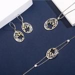 collier, bracelet et boucles doreilles avec motif feuillage nature en argent