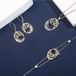 parure bijoux complète motif arbre branches en argent bicolore